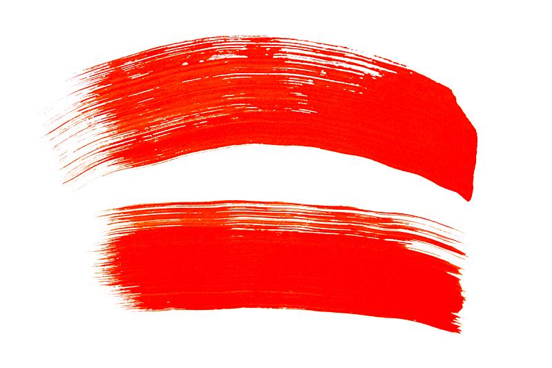 色彩鲜艳,白色背景,红色,抽象,笔触,水彩画,分离着色,形状,多色的,白色