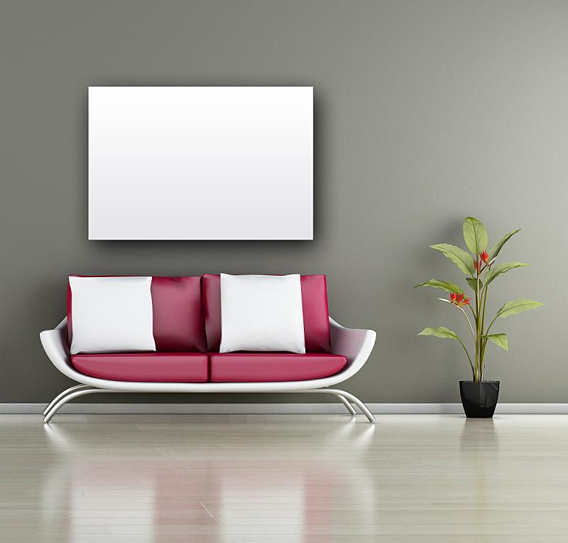 室内,画布,植物,极简构图,沙发,空白的,住宅房间,水平画幅,绘画艺术品,建筑
