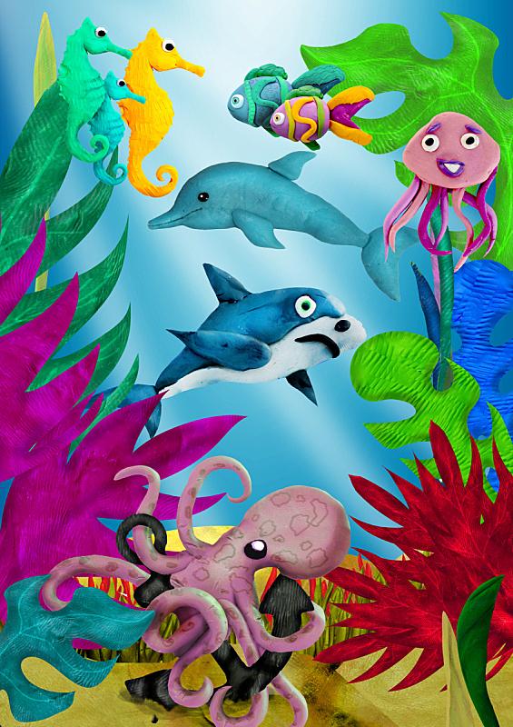 水下,三维图形,海洋生命,儿童插画,垂直画幅,无人,海马,绘画插图,海豚,鲨鱼