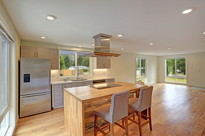 新的,厨房,独立灶台,风帽,天花板,水槽,吧椅,水平画幅,无人,巨大的