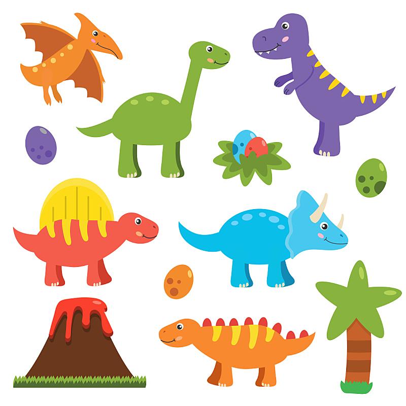 可爱的,恐龙,平坦的,背景分离,野生动物,已灭绝生物,侏罗纪,卵,动物,力克斯兔