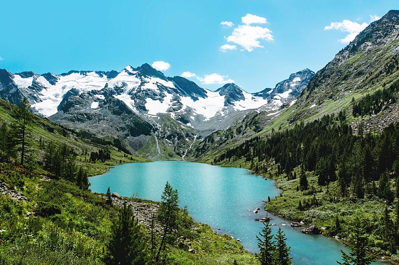 山,湖,自然美,青绿色,户外,夏天,蓝色,高处,宏伟,宁静