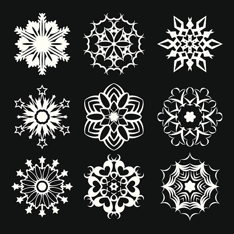 雪花,华丽的,对称,多样,背景,绘画插图,卡通,冰,星形,自然