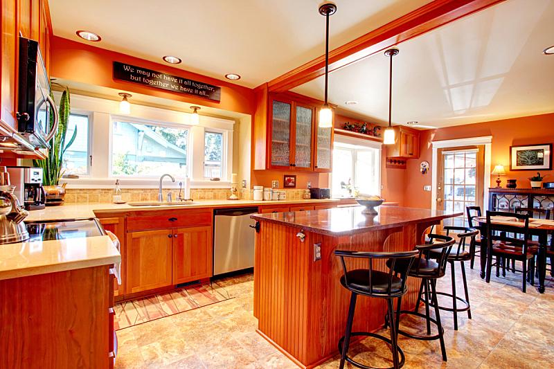 厨房,饭厅,水平画幅,无人,天花板,家具,灶台,用具,米色,不锈钢