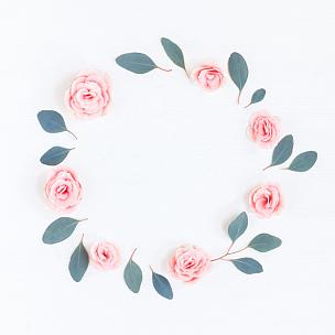 桉树,玫瑰,花环,粉色,在上面,叶子,视角,平铺,软帽,爱沙尼亚