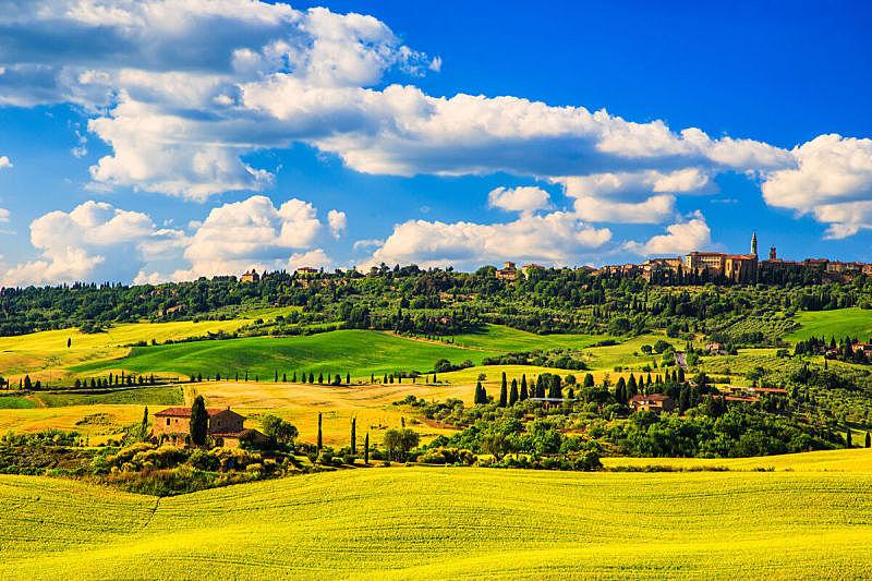 皮恩札,托斯卡纳区,锡耶纳,乡村,春天,中世纪时代,意大利,诺其亚,佛罗伦萨,克里特岛