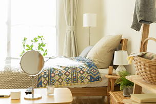 卧室,篮子,家具,饮料,镜子,光,室内植物,水平画幅,居住区,床