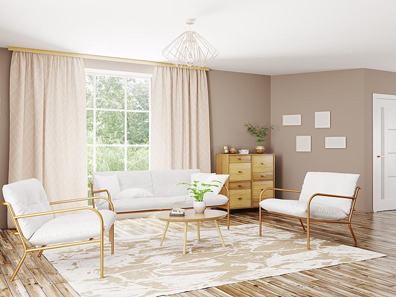 现代,三维图形,室内,起居室,座位,水平画幅,无人,椅子,绘画插图,家具