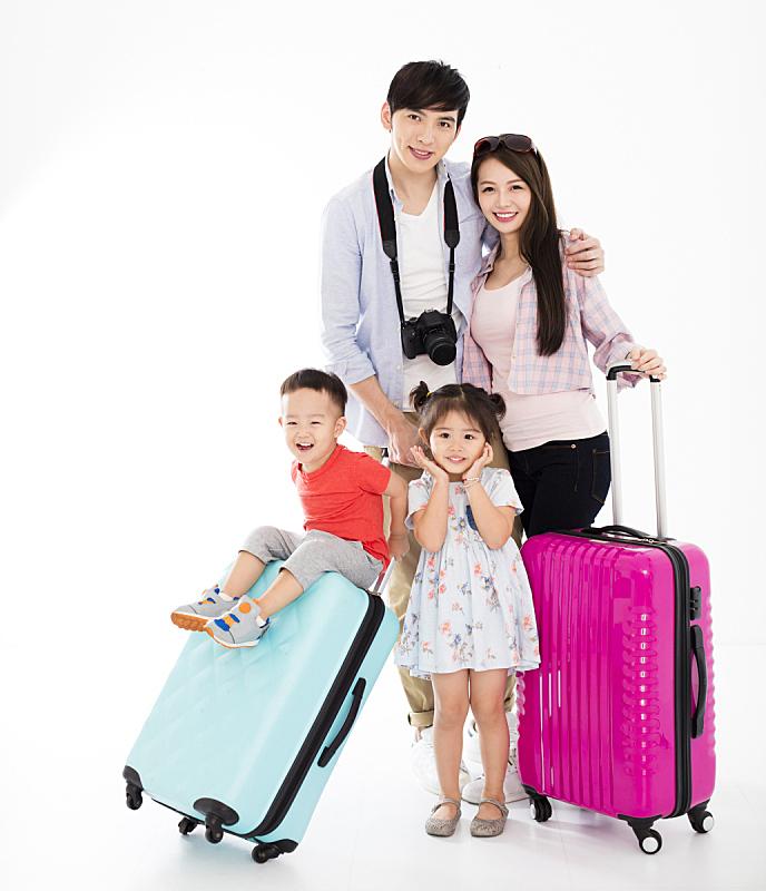 手提箱,家庭,幸福,行李,乘客,亚洲人,少量人群,旅途,旅行者,露齿笑