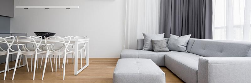 高雅,窗帘,茶几,舒服,灰色,地板,椅子,沙发,现代