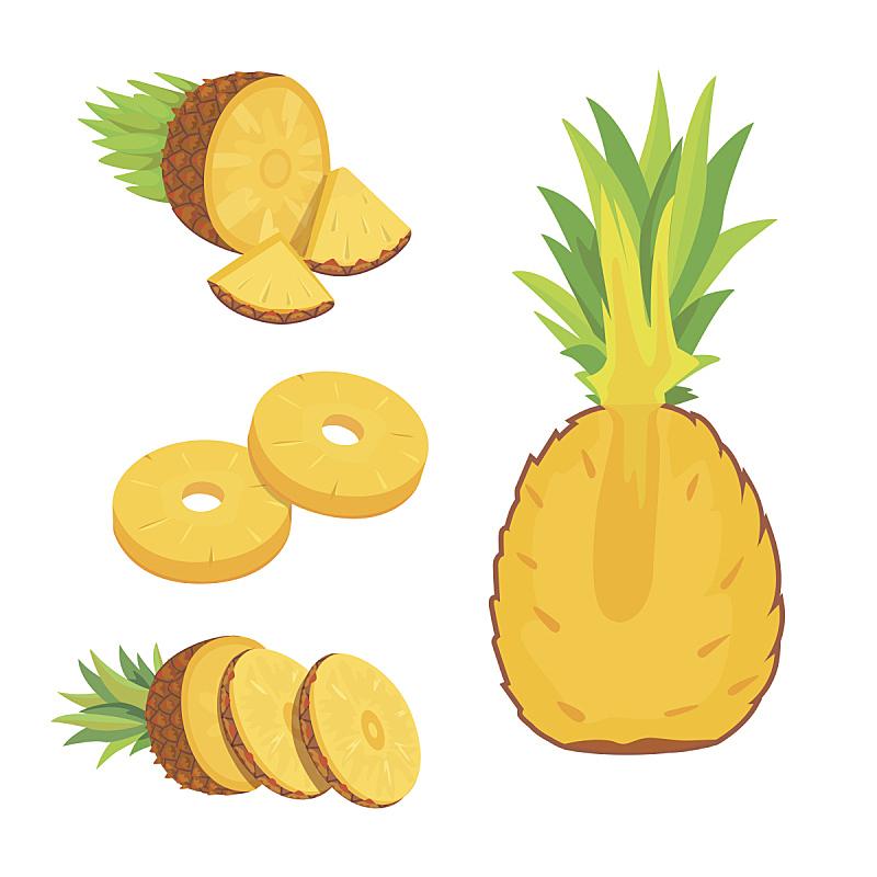 菠萝,清新,自然,水果,白色背景,分离着色,膳食纤维,芳香的,素食,绘画插图