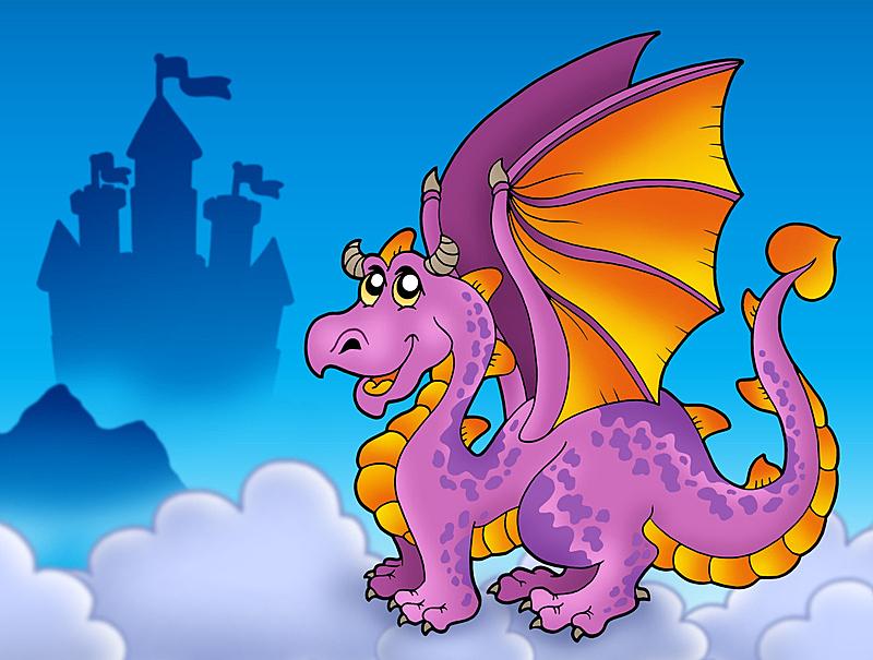 巨大的,龙,城堡,紫色,绘画插图,天空,艺术,水平画幅,山,挨着