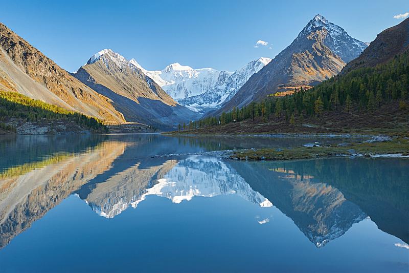 地形,俄罗斯,阿尔泰山脉,秋天,自然美,水,天空,雪,早晨,夏天