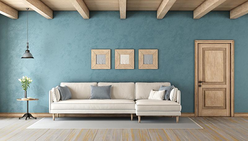 沙发,白色,蓝色,起居室,屋顶横梁,白灰泥,茶几,天花板,门,乡村风格