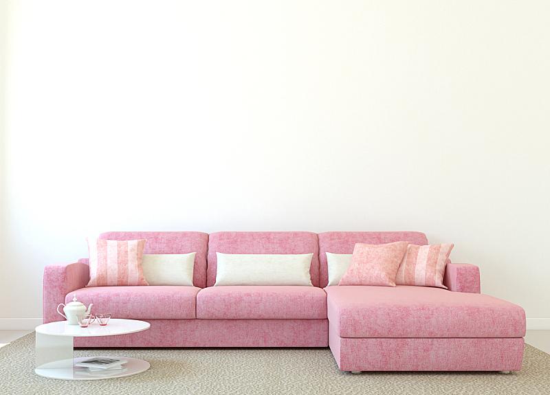 粉色,沙发,茶几,玻璃,正面视角,住宅房间,水平画幅,形状,无人,小毯子