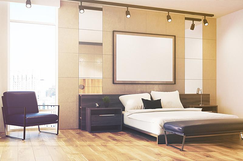 卧室,室内,扶手椅,照明设备,灰色,单色图片,水平画幅,无人,椅子