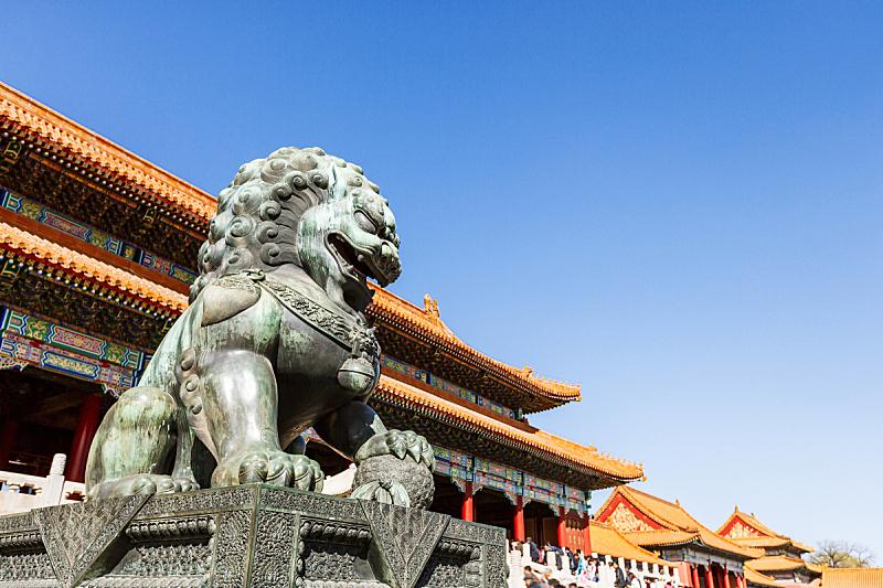 故宫,北京,过去,宫殿,博物馆,亭台楼阁,青铜色,天空,美,古老的