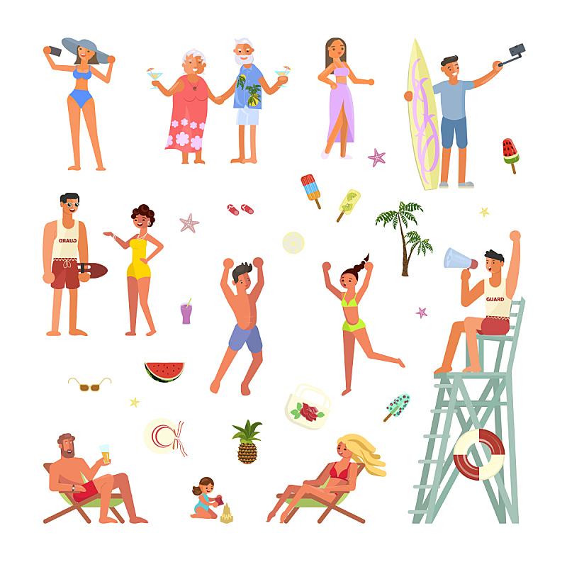 人,海滩,家庭,卡通,旅途,球,运动,背景分离,儿童,海滩度假