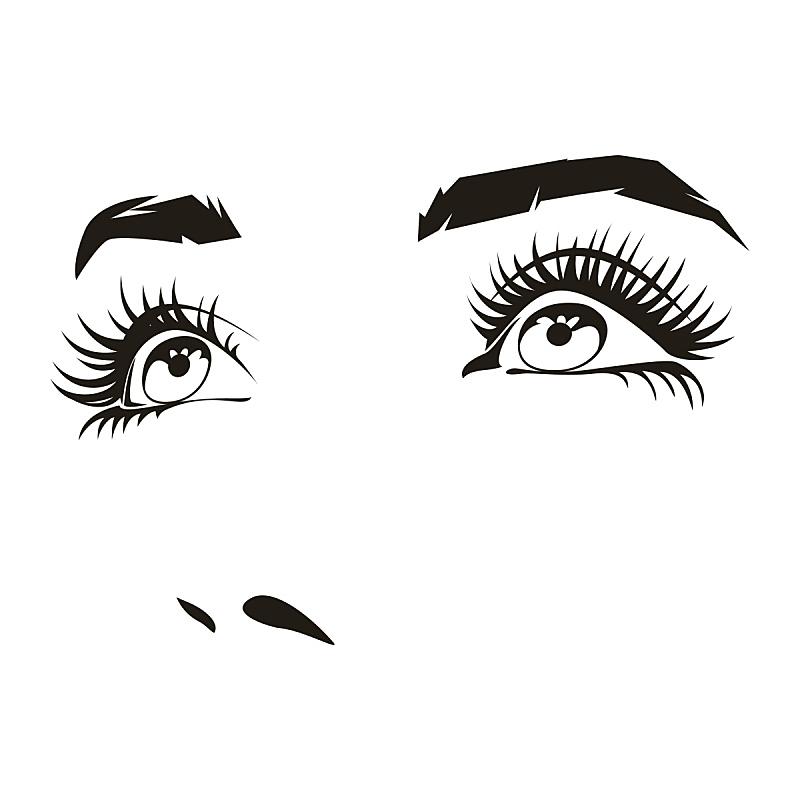绘画插图,人的眼睛,人的脸部,矢量,面部表情,女性,计算机制图,计算机图形学