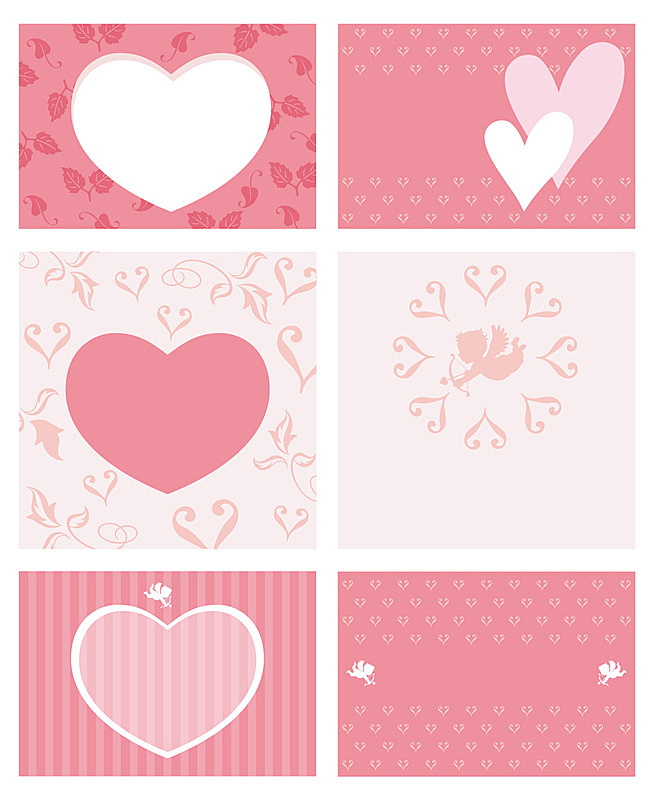 A set of assorted Valentine's Day frames/cards. (without sample text)
