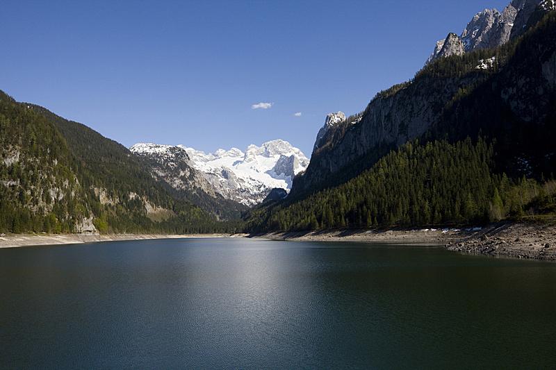 戈绍,湖,水,天空,美,水平画幅,山,雪,户外,植物