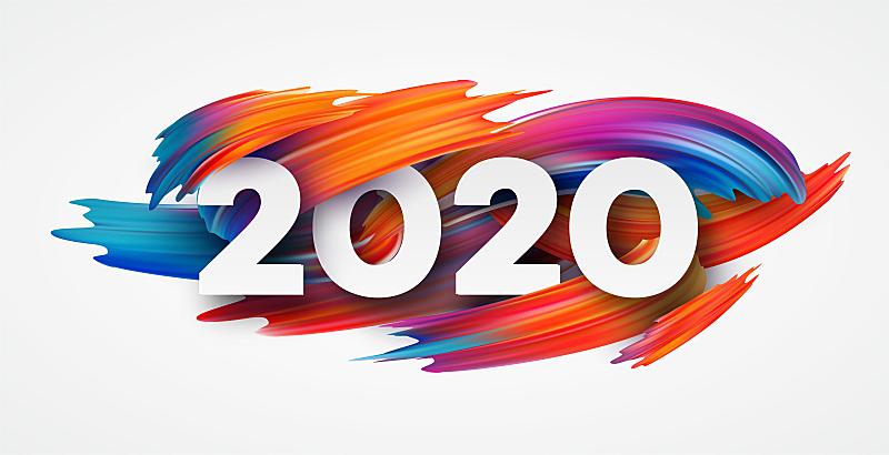 2020,新年前夕,绘画插图,文字,矢量,雕刻图像,事件,贺卡,模板,现代