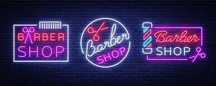 矢量,发型屋,男人,计算机图标,理发店,霓虹灯,标志,设计