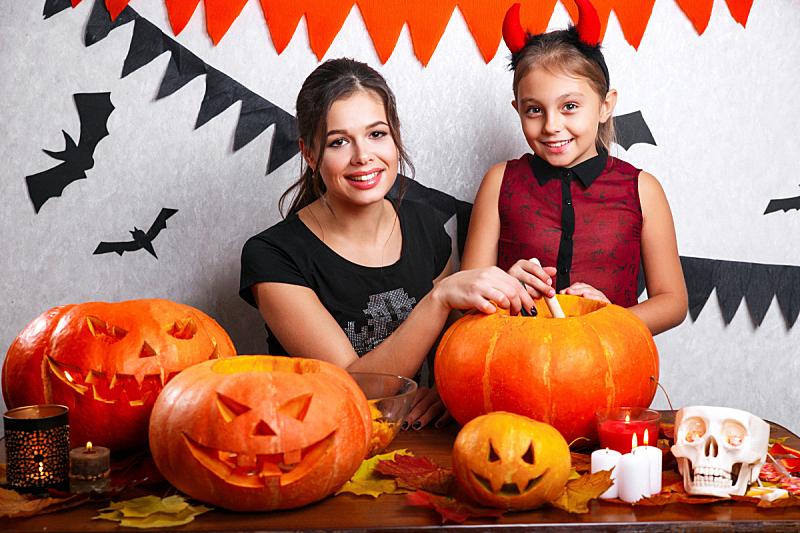 家庭,幸福,南瓜,节日,雕刻物,母女,十月,事件