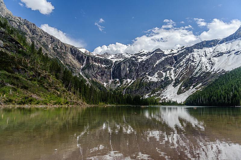 冰河,湖,风景,雪崩,摇石路,美国冰河国际公园,蒙大拿州,自然,水,天空