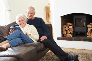 沙发,老年伴侣,使用平板电脑,水平画幅,家庭生活,伴侣,白人,男性,仅成年人,冬天