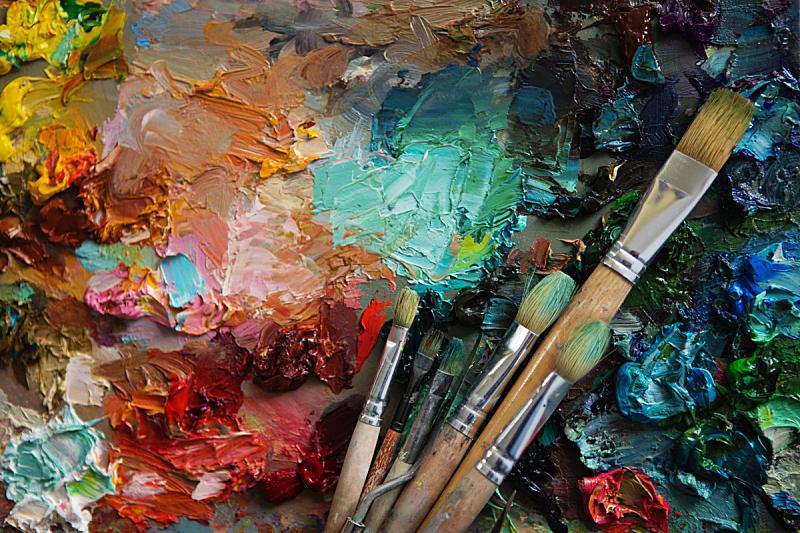 艺术家,画笔,特写,摆拍,美术工艺,调色板,印象主义,货盘
