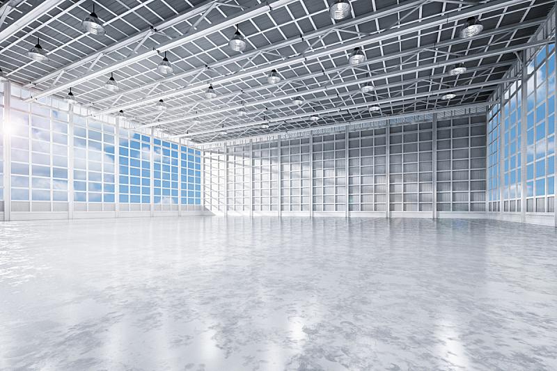 无人,工厂,室内,新的,仓库,水平画幅,工作场所,巨大的,天花板,百叶窗