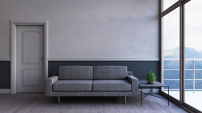 现代,三维图形,交通工具内部,起居室,家具,窗帘,自然界的状态,空白的,边框,灯