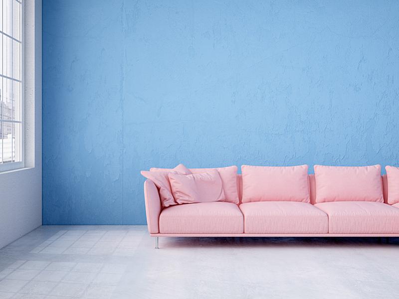 现代,沙发,蓝色,室内,墙,三维图形,粉色,水平画幅,无人,天花板