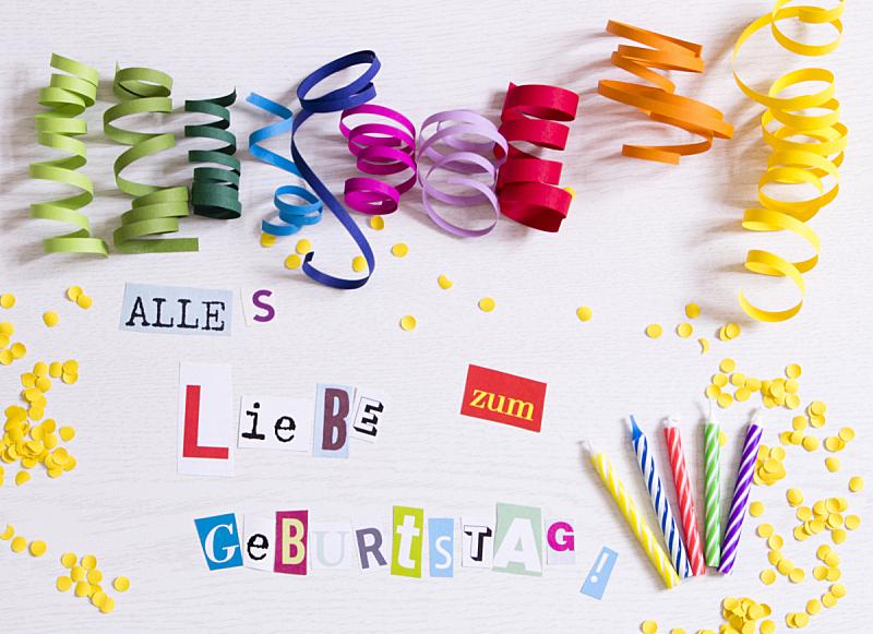 生日卡,德国语言,贺卡,水平画幅,高视角,无人,生日,花卉花环,明亮,装饰旗
