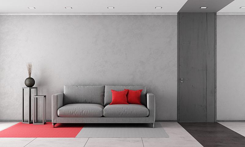 起居室,现代,灰色,水泥地,水平画幅,墙,无人,天花板,地毯,家具