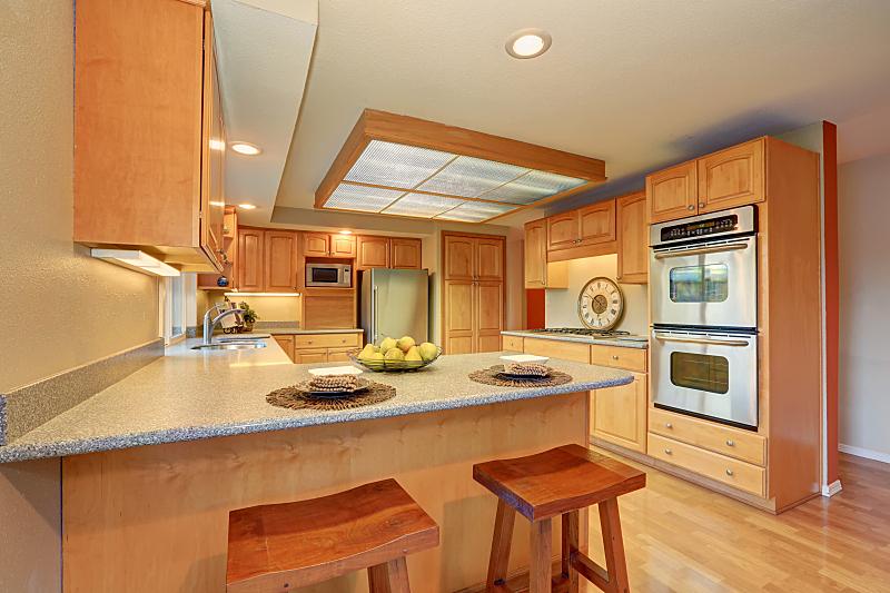 明亮,用具,木制,钢铁,室内,厨房,冰箱,新的,水平画幅,墙