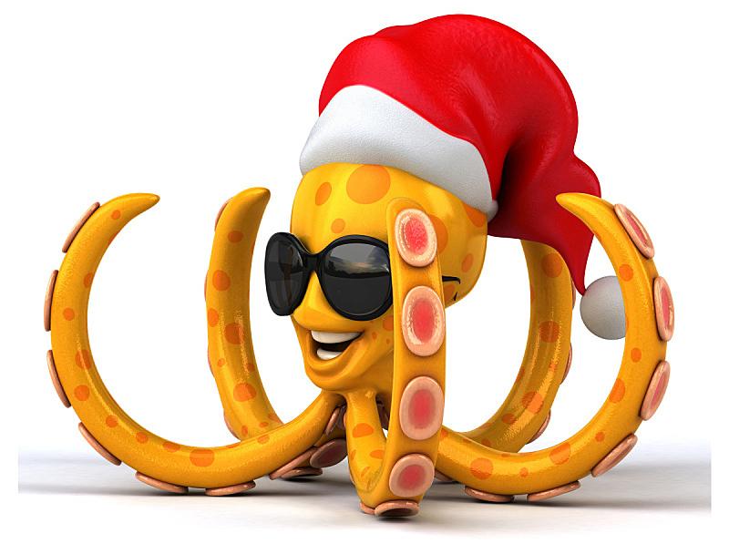 章鱼,科玛,触须,水,艺术,水平画幅,绘画插图,水下,圣诞老人