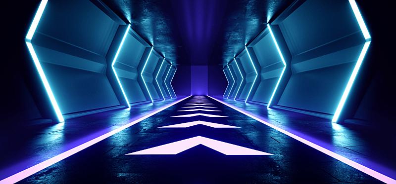 空的,隧道,走廊,三维图形,未来,激光,蓝色,黑色,发光,照亮