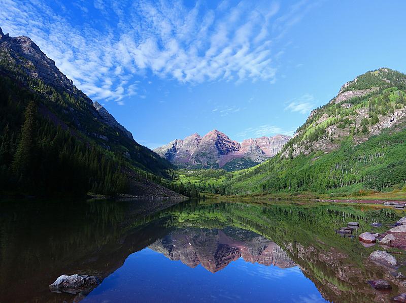 玛尔露恩贝尔峰,夏天,倒影湖,洛矶山脉,水平画幅,无人,户外,湖,山脉,山