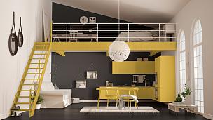 阁楼,室内设计师,简单,公寓,黄色,生活方式,厨房,极简构图,住宅房间,卧室