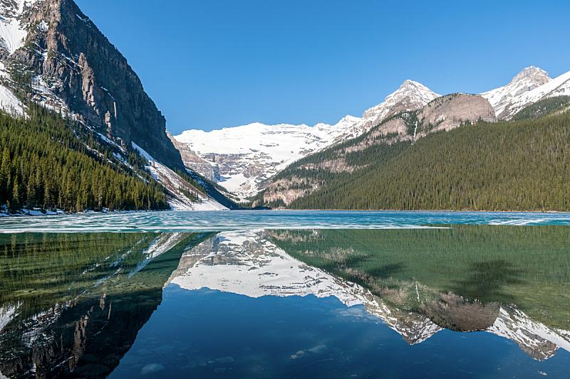 班夫,加拿大,阿尔伯塔省,露易斯湖,雪,著名景点,春天,湖,绿松石色,岩石