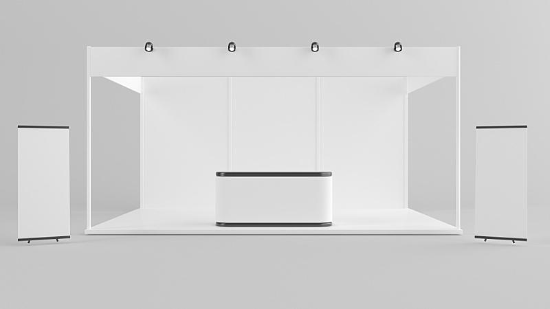 模板,身份,投票站,商务,创造力,三维图形,白色,展览,设计,站