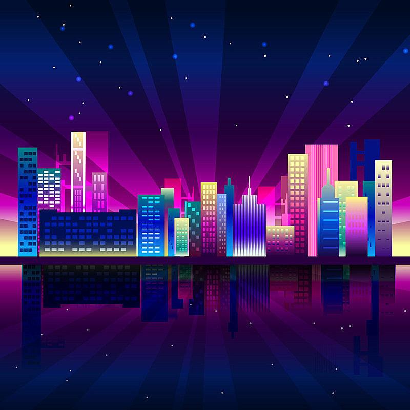 背景,城市,夜晚,山,霓虹灯,城市生活,纽约州,时尚,色彩鲜艳,暗色