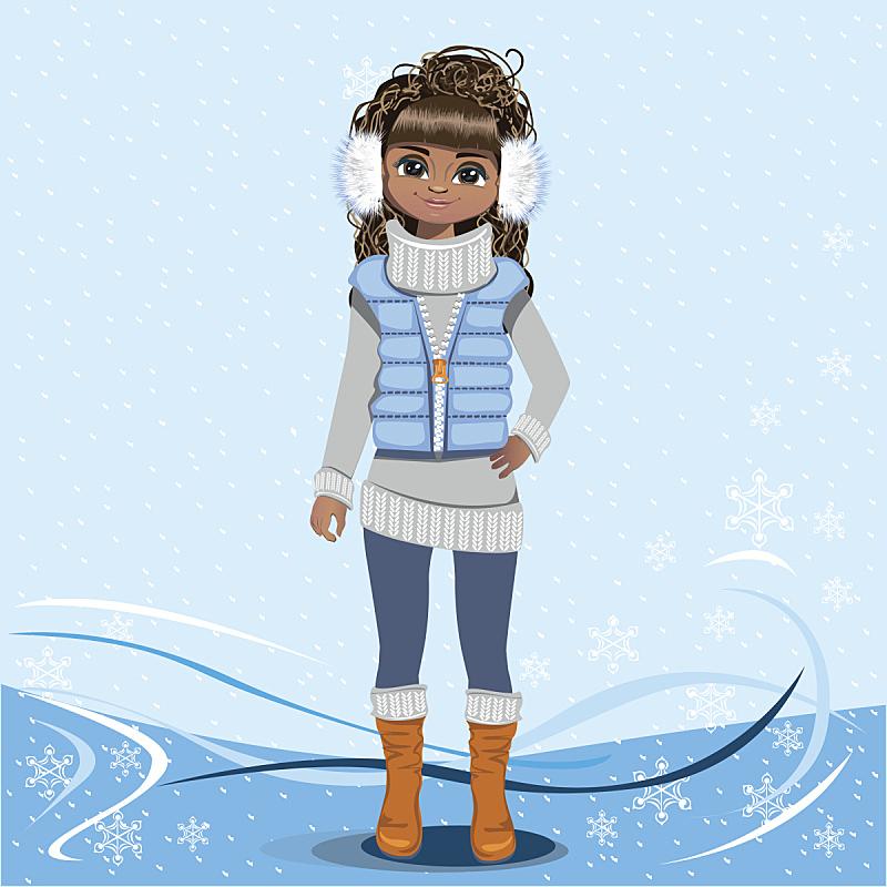 冬天,可爱的,背景,女孩,皮饰,动画片,人类形象,绘画插图,美,青少年