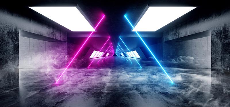 城市武士,隧道,走廊,三维图形,未来,混凝土,霓虹灯,蓝色,车库,发光
