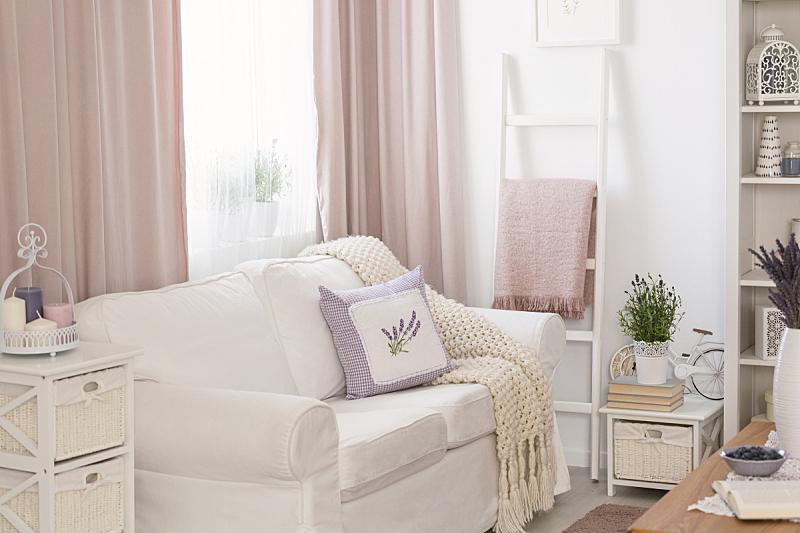 窗帘,沙发,起居室,白色,粉色,室内,毯子,枕头,花,摄影