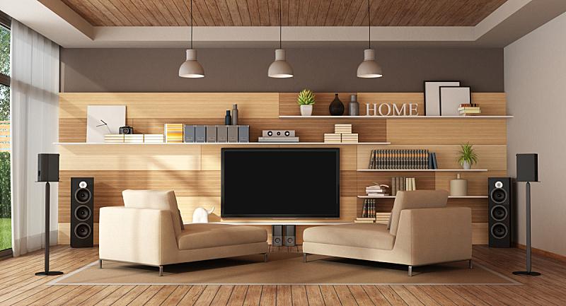 家庭影院,起居室,极简构图,三维图形,男人空间,低音炮,木隔板,纺织品,照明设备,地板