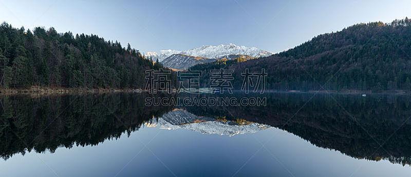 湖,全景,库夫施泰因,水,水平画幅,雪,无人,偏远的,户外,巴伐利亚
