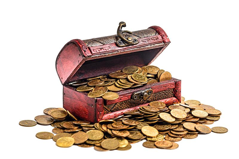 黄金,百宝箱,秘密,商务,背景分离,华贵,复古风格,丰富,古董,古典式